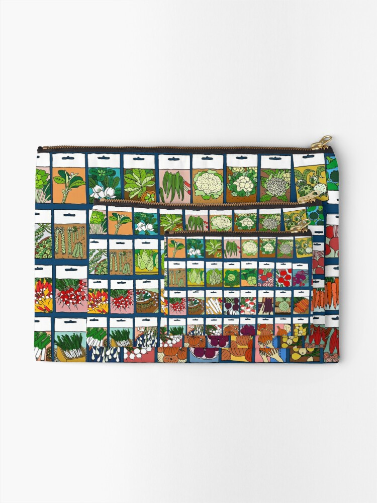 Alternate view of Vegetable seeds pattern Zipper Pouch