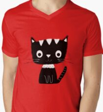 Cute black and white cartoon cat  Men's V-Neck T-Shirt