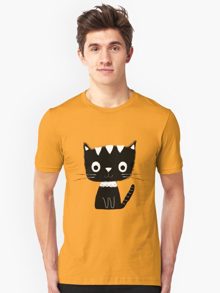 Cute black and white cartoon cat  Unisex T-Shirt Front