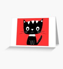 Cute black and white cartoon cat  Greeting Card