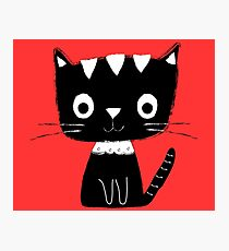 Cute black and white cartoon cat  Photographic Print