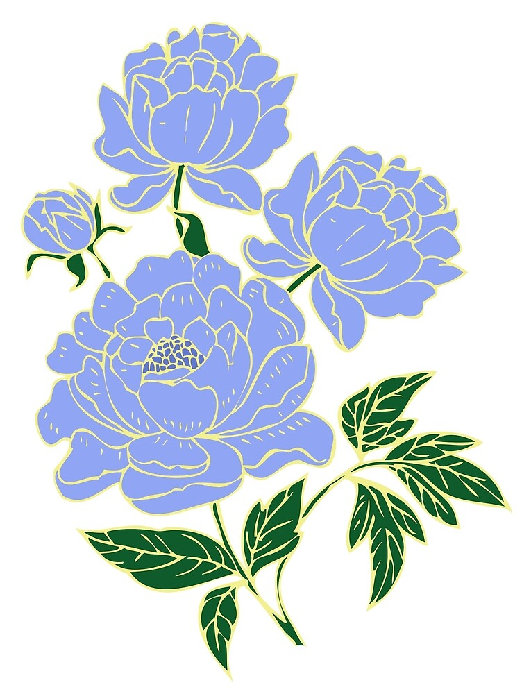 Blue Peonies by HeadRubble