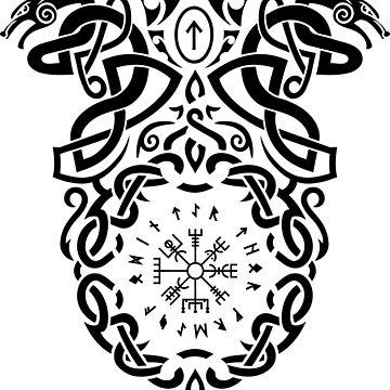 Vegvisir Knotes Runes / Wikinger / Vikings / Black by norwik