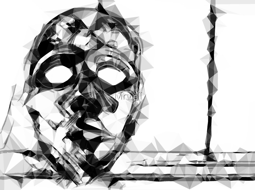 psychedelic geometric polygon pattern face portrait in black and white by Mrvell