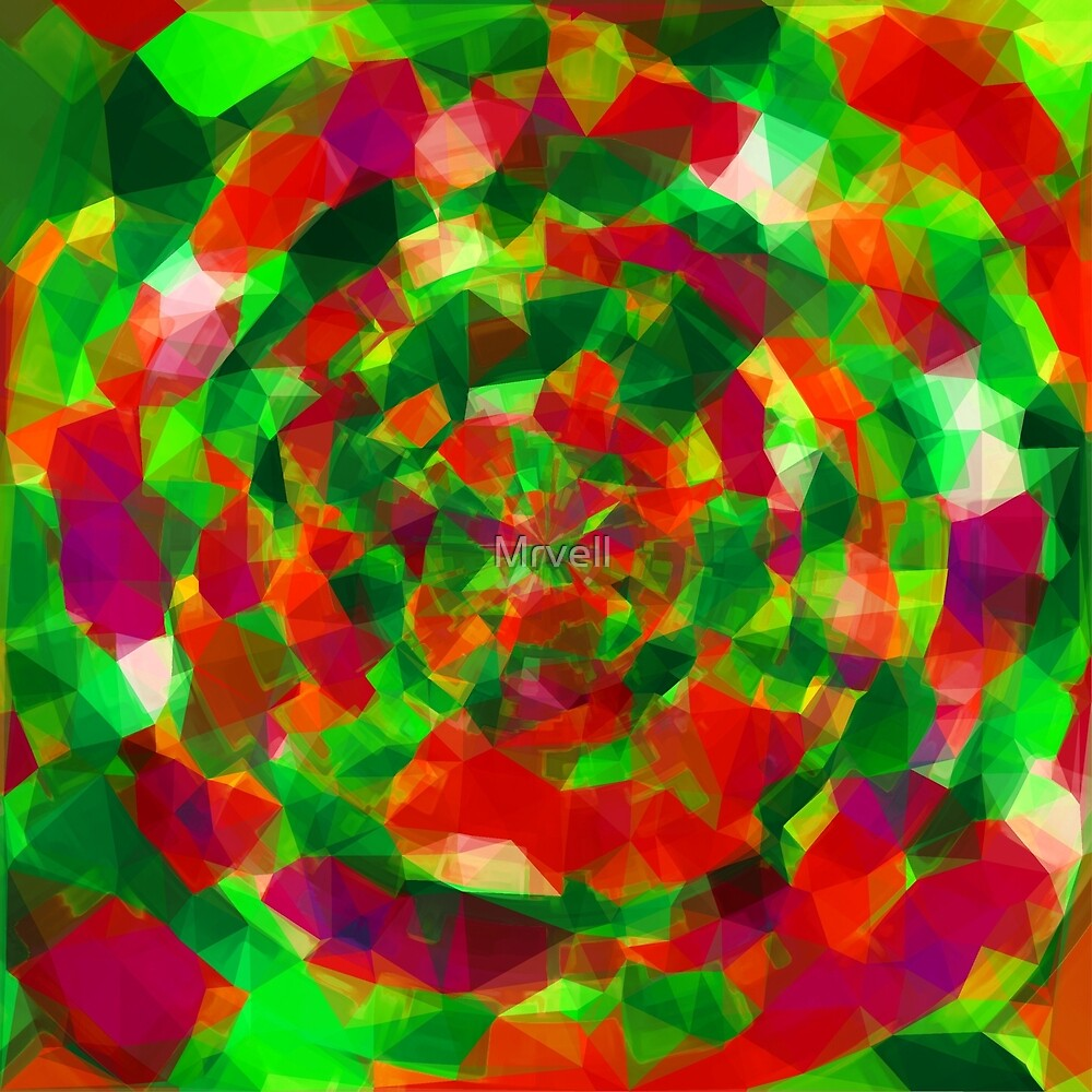 psychedelic geometric polygon pattern abstract in red green pink by Mrvell