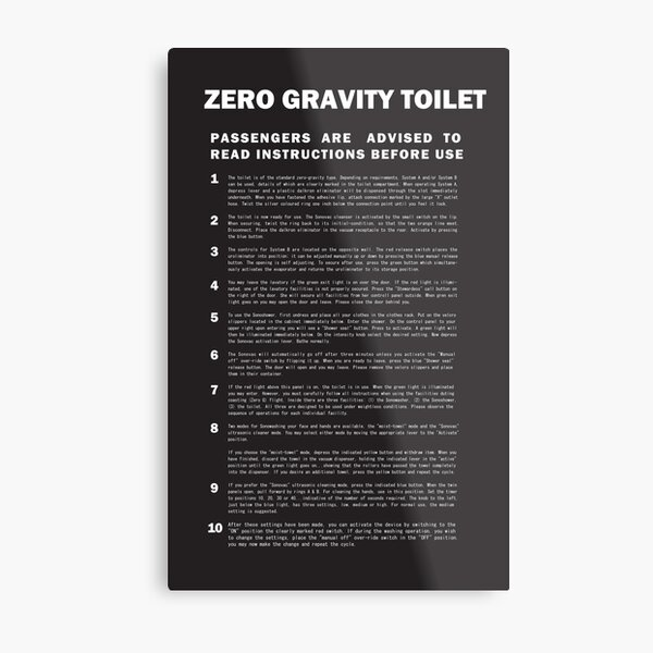 2001 A Space Odyssey Zero Gravity Toilet Instructions Metal Print