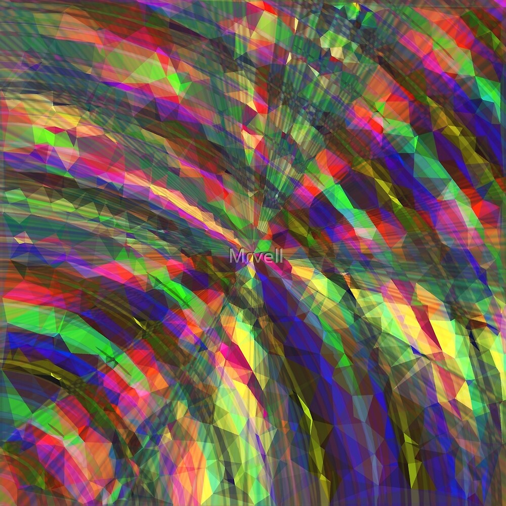 psychedelic geometric polygon pattern abstract in pink blue green yellow by Mrvell