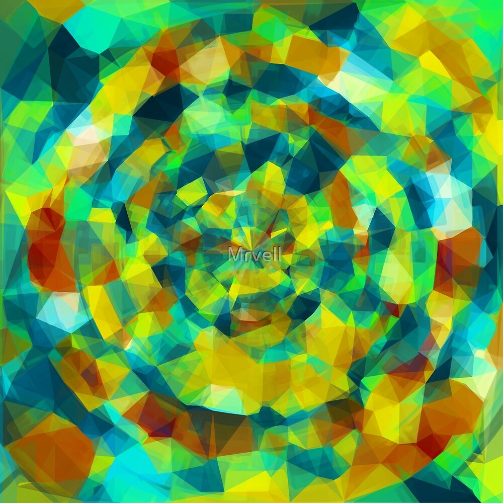 psychedelic geometric polygon pattern abstract in blue yellow green brown by Mrvell