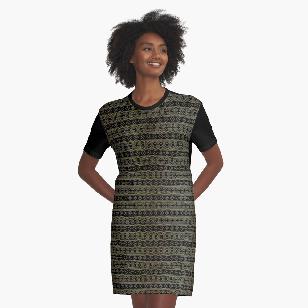 Small Black and Gold Royal Aztec Tribal Pattern Graphic T-Shirt Dress Front