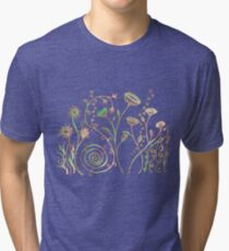Pen and Ink Floral Doodle Art - Green and Orange Tri-blend T-Shirt