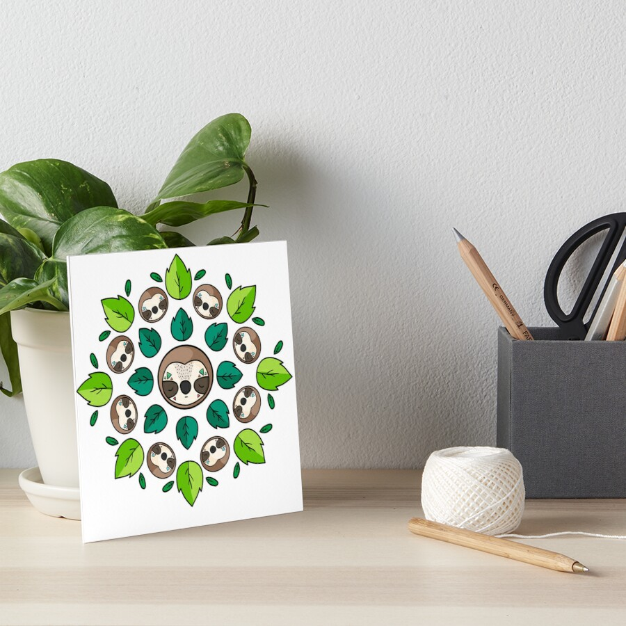 Mandala Sloth Art Board Print