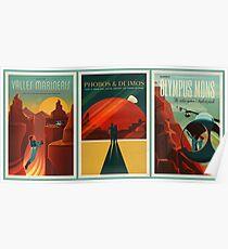 SpaceX Mars Kolonisation und Tourismus Verband Triptychon Poster