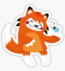 the fox and the bird Sticker