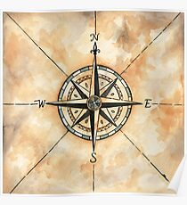 Old Map Compass Poster