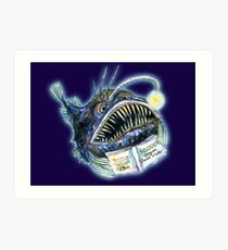 Angler Fish reads 50,000 Leagues Down Under Art Print