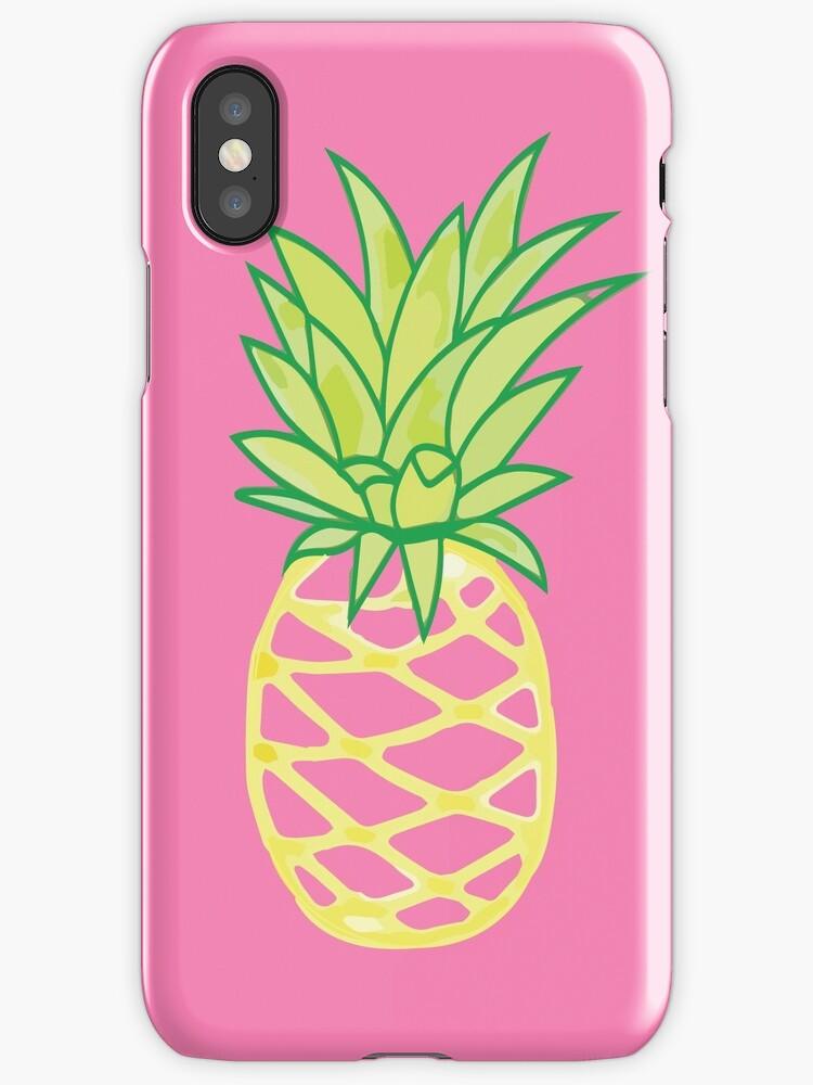 Pineapple Sticker Phone Case Gold Pineapples Lover
