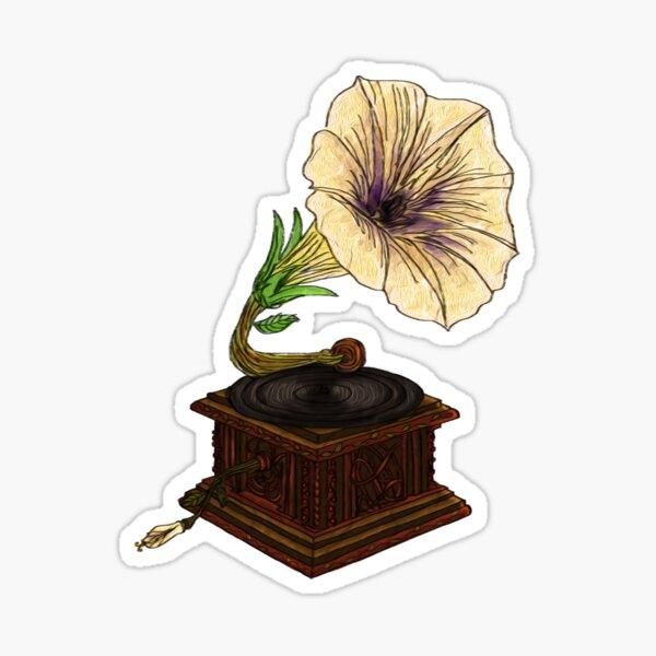 Flower Gramophone Sticker