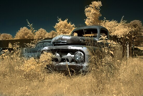 Abandoned 1952 Ford F-1 Pickup - infrared - 1 by mal-photography