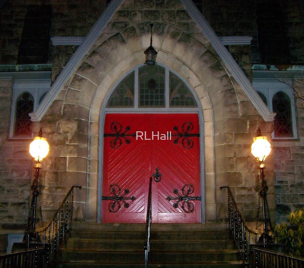 Church Entrance at Night  by RLHall