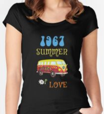 1967 Summer of Love Peace Van Hippie Graphic Women's Fitted Scoop T-Shirt