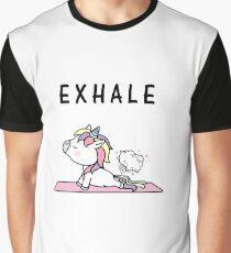 Exhale Unicorn Yoga Fart Graphic T-Shirt