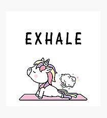 Exhale Unicorn Yoga Fart Photographic Print