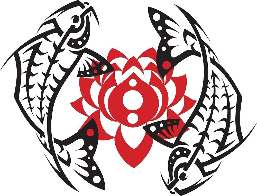 Tribal Tattoo Koi Fish T-Shirt Design by rhinoman1984
