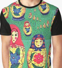 Babushkas and swirls on green Graphic T-Shirt