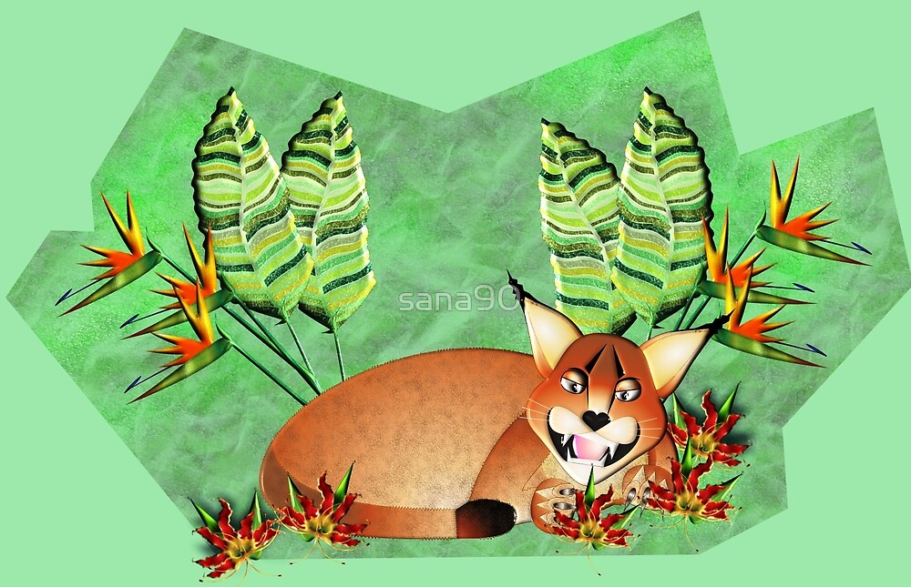 CARACAL 131 IN A GARDEN by sana90