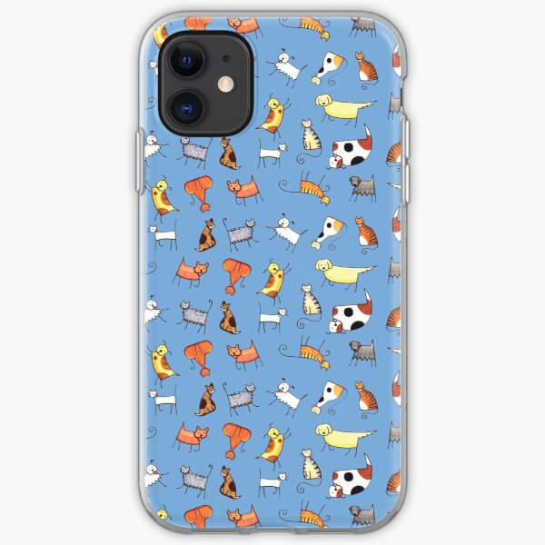Cats and Dogs Pattern (on blue) iPhone Soft Case