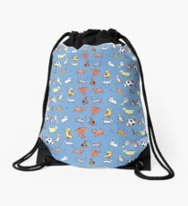 Cats and Dogs Pattern (on blue) Drawstring Bag