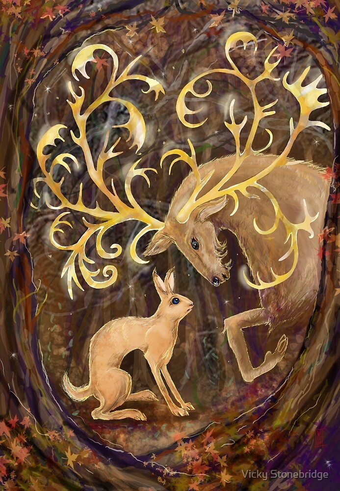 Elk and Hare by Vicky Stonebridge