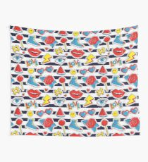 Striped print with colorful patches. Wall Tapestry