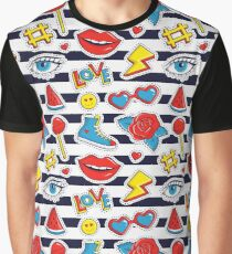 Striped print with colorful patches. Graphic T-Shirt