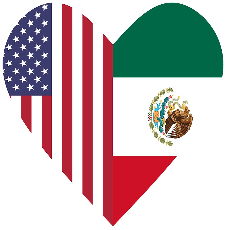 Half mexico flag half usa flag love heart by trevelyanprints