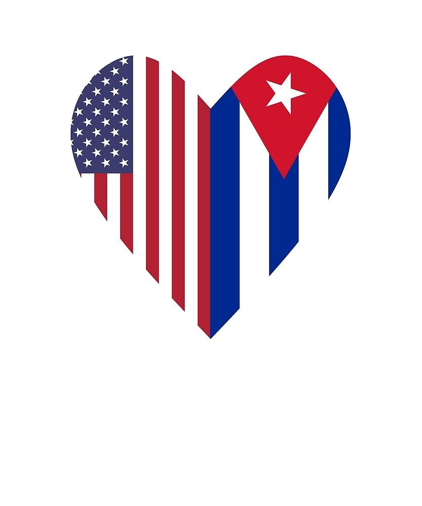 Half Cuba Flag Half USA Flag Love Heart by TrevelyanPrints