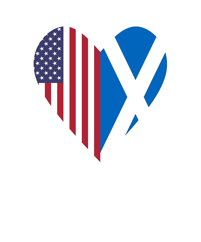 Half Scotland Flag Half USA Flag Love Heart by TrevelyanPrints