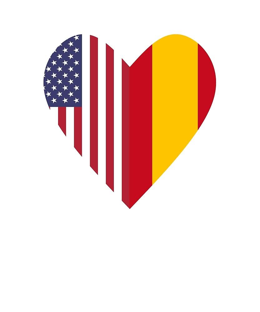 Half Spain Flag Half USA Flag Love Heart by TrevelyanPrints
