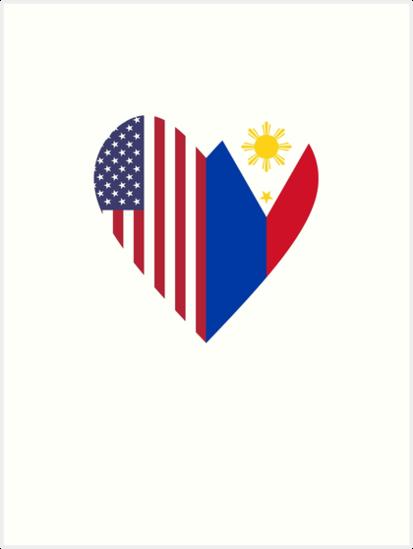 Half Philippines Flag Half Usa Flag Love Heart Art Prints By
