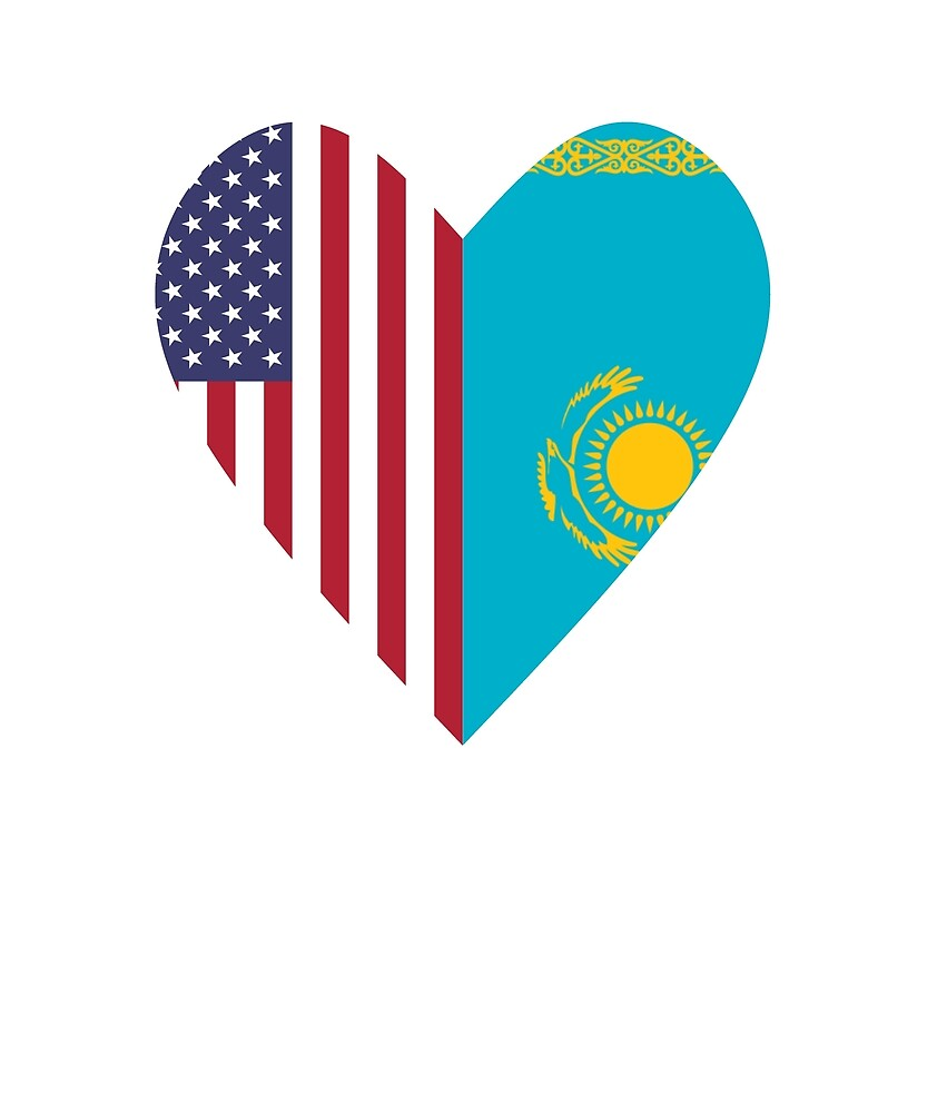 Half Kazakhstan Flag Half USA Flag Love Heart by TrevelyanPrints