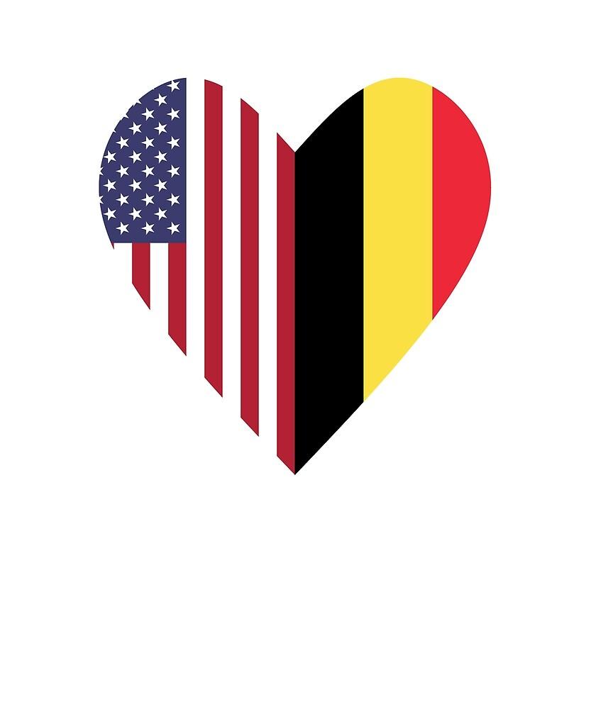 Half Belgium Flag Half USA Flag Love Heart by TrevelyanPrints
