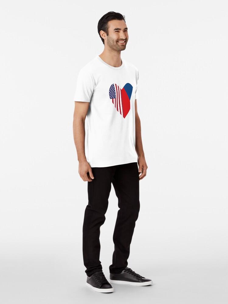 Alternate view of Half Czech Republic Flag Half USA Flag Love Heart Premium T-Shirt