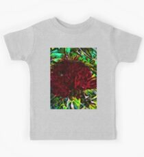 Red Flower in the Shadows and Bright Green Leaves Kids Tee