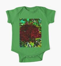 Red Flower in the Shadows and Bright Green Leaves One Piece - Short Sleeve
