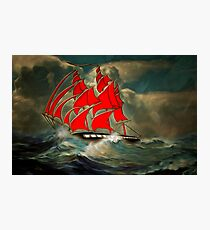 Clipper Ship Indian Queen in Rough Seas (2)  Photographic Print