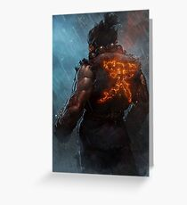 Akuma Street Fighter Poster Kanji Greeting Card