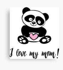 Cute little panda with heart Canvas Print