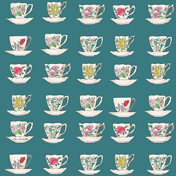 Grandma's Vintge Teacups Watercolour by louendicott