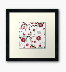 Romantic lovely flowers hand drawn seamless pattern  Framed Print