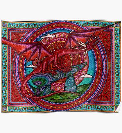 Red Dragon Sunrise Poster